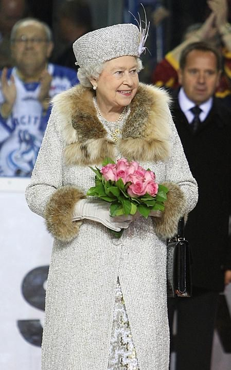 The Queen arrives to start an ice hockey match between Aqua City Poprad and Guildford Flames at the ice hockey stadium on the second day of a tour of Slovakia, 2008.