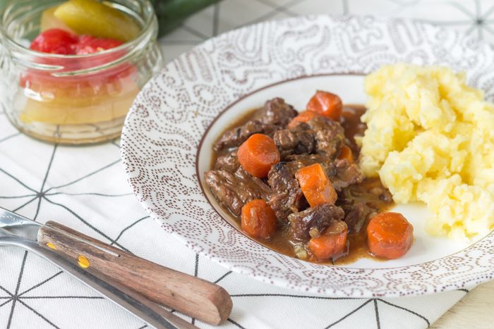 Beef stew baked in dark beer