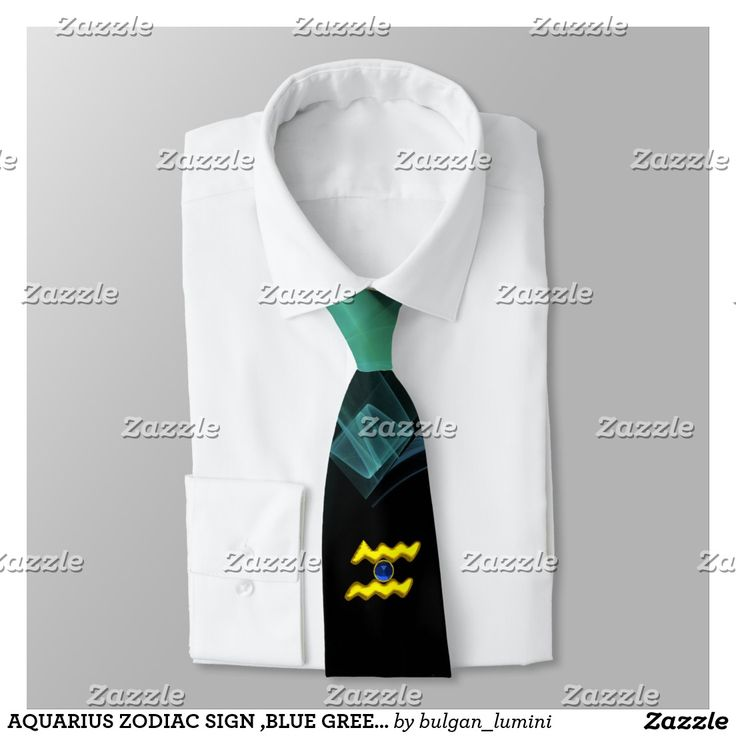 AQUARIUS ZODIAC SIGN ,BLUE GREEN FRACTAL SWIRLS NECK TIE  #fashion #zodiacalsigns #birthdayparty #astrology #ties #3d