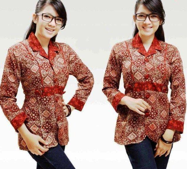 Model Baju Batik Atasan Untuk Wanita Gemuk Berjilbab