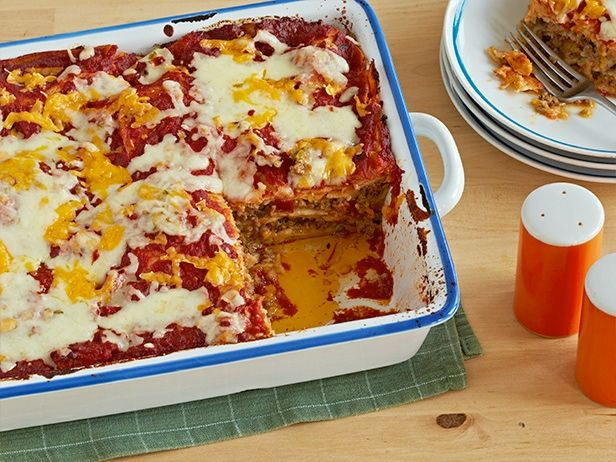 Easy Beefy Cheesy Enchilada Casserole #BigGame: Food Network, Beefy Cheesy, Maine Dishes, Easy Beefy, Casseroles Recipe, Sunny Anderson, Enchiladas Casseroles, Cheesy Enchiladas, Beef Enchiladas