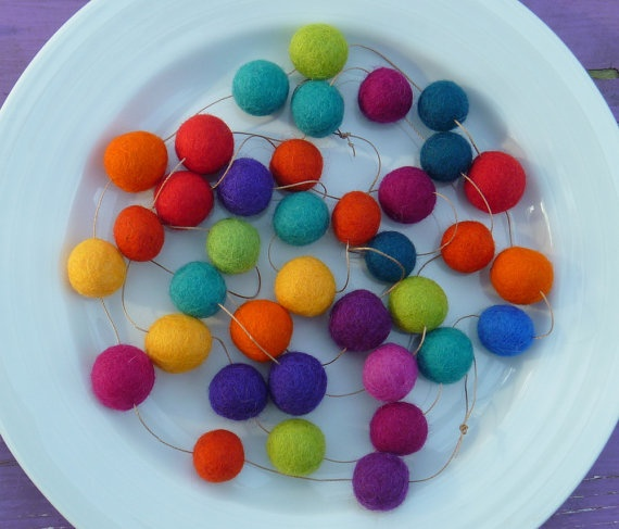 felt ball garland on Etsy by MadeMary