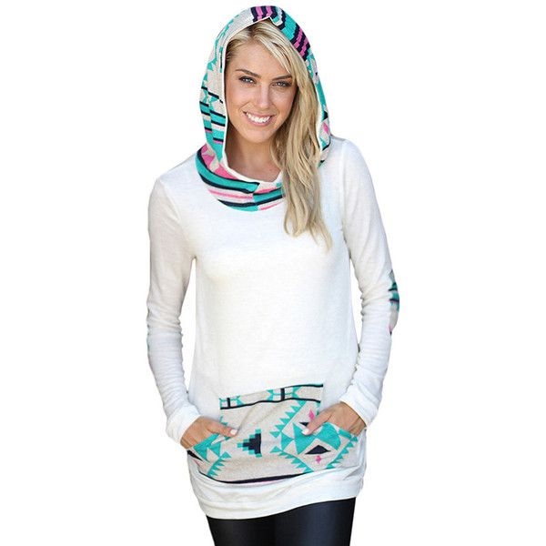 Womens Long Sleeve Aztec Print Spliced Pocket Pullover Hoodie Blue ($13) ❤ liked on Polyvore featuring tops, hoodies, blue, white pullover, long sleeve hoodie, white long sleeve top, sweatshirt hoodies and white hoodie