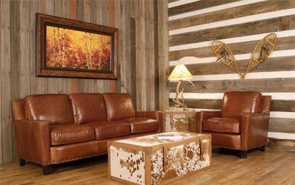 Alvarado Collection - Luxurious seating comfort in fine leather furniture will give you great decorating ideas at a price you can afford. Leather brings prestige to any interior with its special allure, feel, and intoxicating smell. Leather delivers superior value - even with continuous use, leather upholstery outlasts fabric at least 4 times over and unlike fabric, leather improves with age.  Rustic living room, Cabin living room, Leather couch, Cabin décor, Cabin furniture, Log cabin
