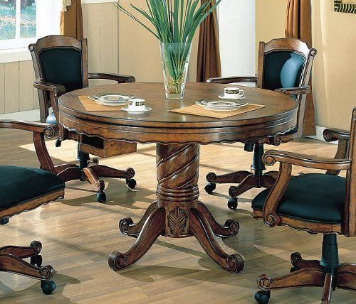 Oak Finished Wood Poker Pool Game Dining Table And 4 Chairs Set