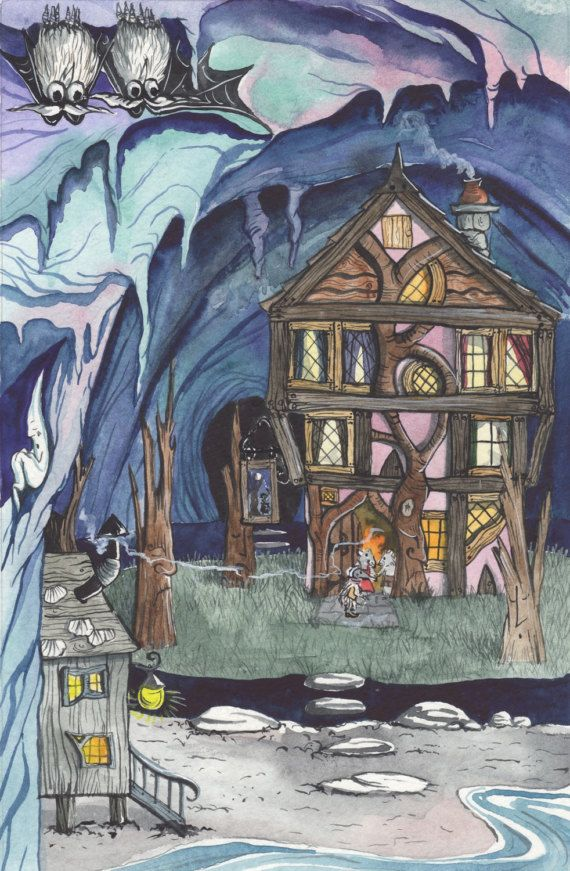 The Vroffa Tree Inn - A3 Print by Jacqui Lovesey from 'The Puzzle of the Tillian Wand' - fantasy art.