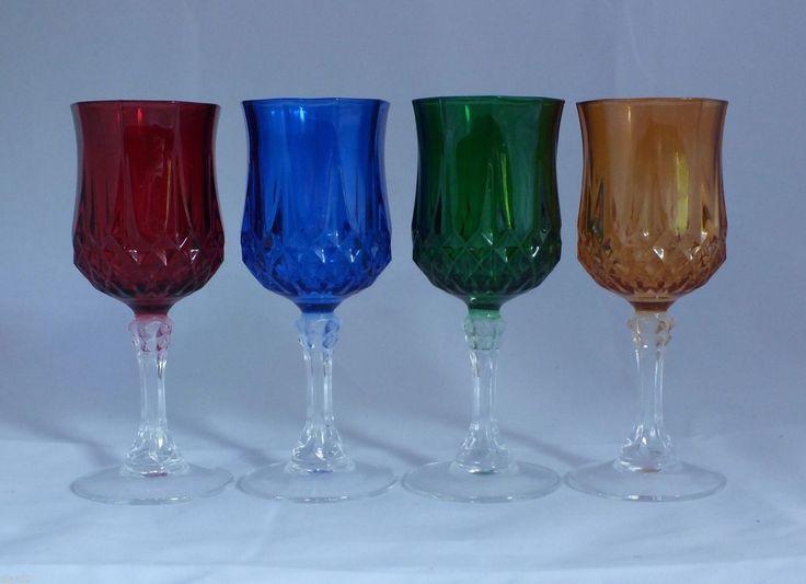cristal d 39 arques longchamp set of 4 colored cordial. Black Bedroom Furniture Sets. Home Design Ideas