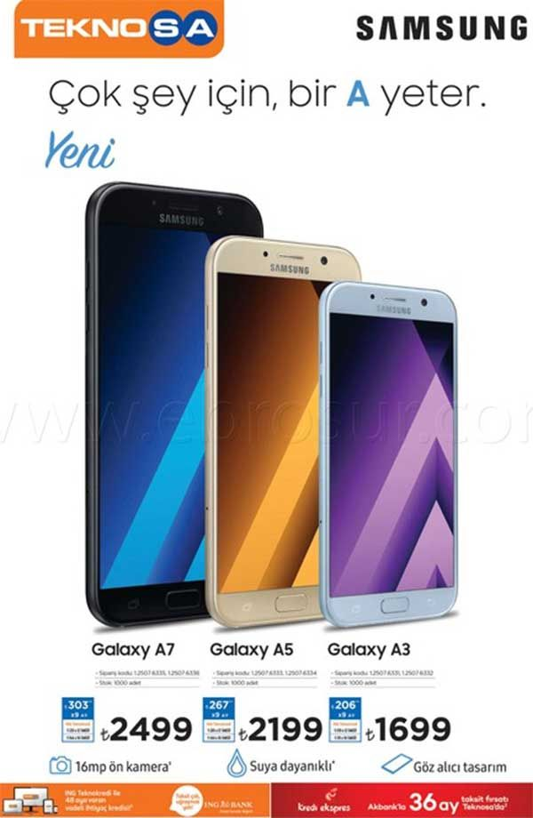 Teknosa kampanya ve indirimleri sürüyor. Teknosalarda bu hafta 25 Şubat ile 4 Mart 2017 tarihleri arasında geçerli olacak fırsatları aşağıda inceleyebilirsiniz. Teknosa Samsung A serisi cep telefonlarında 1699 TL'den başlayan fiyatlar sunuyor. Asus K serisi notebook modellerinde de indirimli fiyatlar sizleri bekliyor. Samsung A serisi 2017 model cep telefonları kurdan etkilendi ve fiyatları aşırı yüksek. Samsung S7 fiyatına A7 satın almak çok saçma olacaktır. Galaxy a5 2016 modeli 1400 l...