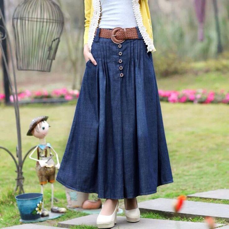 2016 Корейский Новая Мода Весна женские Длинные Линии Юбки Сплошной Цвет пят Джинсовые Юбки Causla Женщин Юбки синий купить на AliExpress