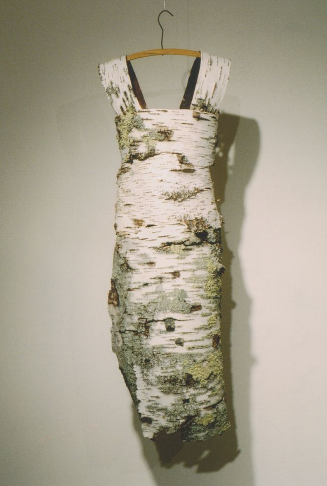 """Leah Mahlow's Birch Dress - Ed. note; Whoa! I can't decide whether to pin this to """"Plants and the Arts"""" or """"Flowers and Fashion."""" Incredible!"""