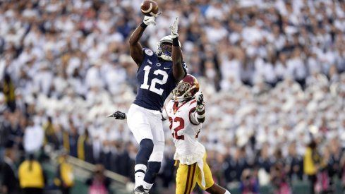 January 2, 2017; Pasadena, CA, USA; Penn State Nittany Lions wide receiver Chris Godwin (12) catches a pass against the Southern California Trojans during the first half of the 2017 Rose Bowl game at the Rose Bowl. Mandatory Credit: Gary A. Vasquez-USA TODAY Sports