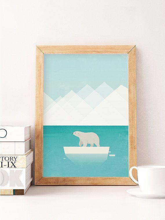Weißer Bär, Polar bear, Bear drucken, Kindergarten Wandkunst, Kinderzimmer Dekoration, Kids-Illustration, Kids Room decor, Wanddruck, Kunst mit Kids, Cute Bär