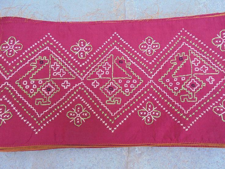 Beautiful Hand Embroidered Silk Tribal Sari Saree Border. by LallibhaiIndia on Etsy