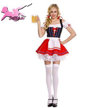 Костюм горничной с плеча ролевая паб равномерное хэллоуин косплей Ruched пузырь юбка carvinal костюмы для женщин XNY002