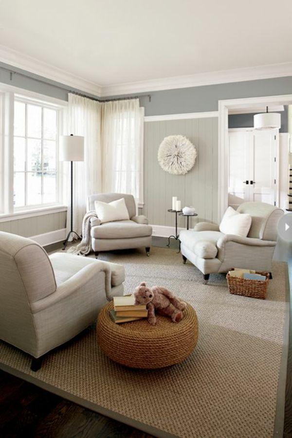 Die besten 25+ Wandgestaltung wohnzimmer beispiele Ideen auf - wandfarbe grau