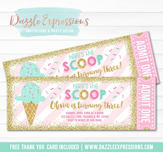 Printable Pink Mint and Gold Glitter Ice Cream Ticket Birthday Invitation | Sundae Party | Sprinkles Party | Candy Bufet | Dessert Party | Digital File | Little Girls Elegant Summer Birthday Party Idea | FREE thank you card | Party Package Available | Banner | Cupcake Toppers | Favor Tag | Food and Drink Labels | Signs | Candy Bar Wrapper | www.dazzleexpressions.com