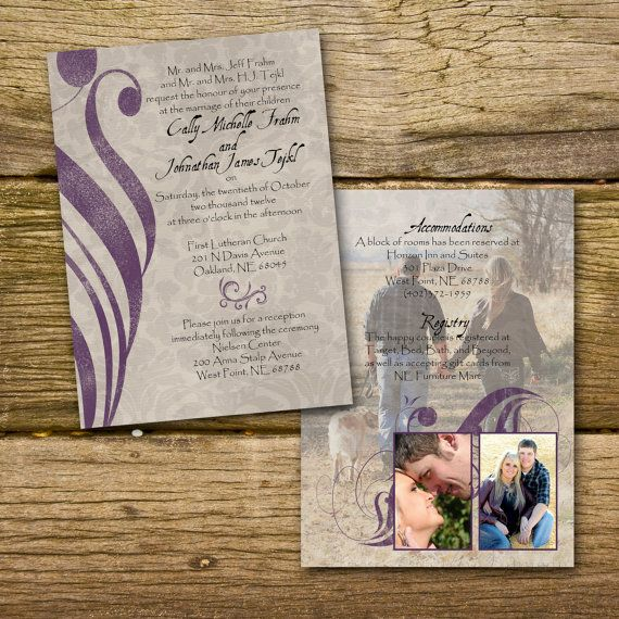Purple Wedding Invitation  customize to your by gwenmariedesigns, $2.50