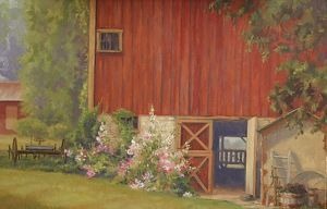 A lovely restored barn with old fashioned holly hocks leaning up against it. Matted 11x14 $30.