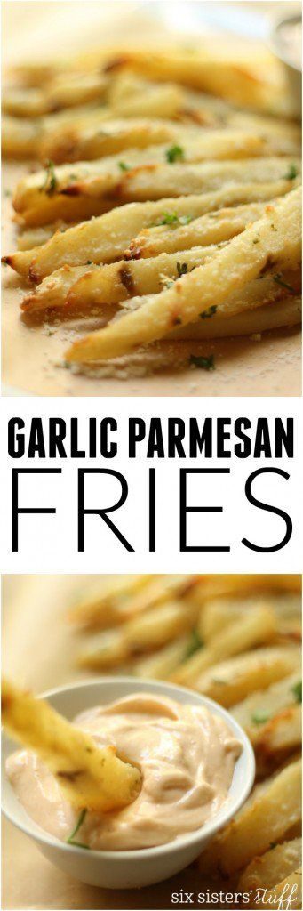 Baked Garlic Parmesan Fries with Spicy Aioli on Six Sisters' Stuff   These Garlic Parmesan Fries are BAKED, so you can feel a lot better about eating half the pan and they make a great side for that summer bbq!