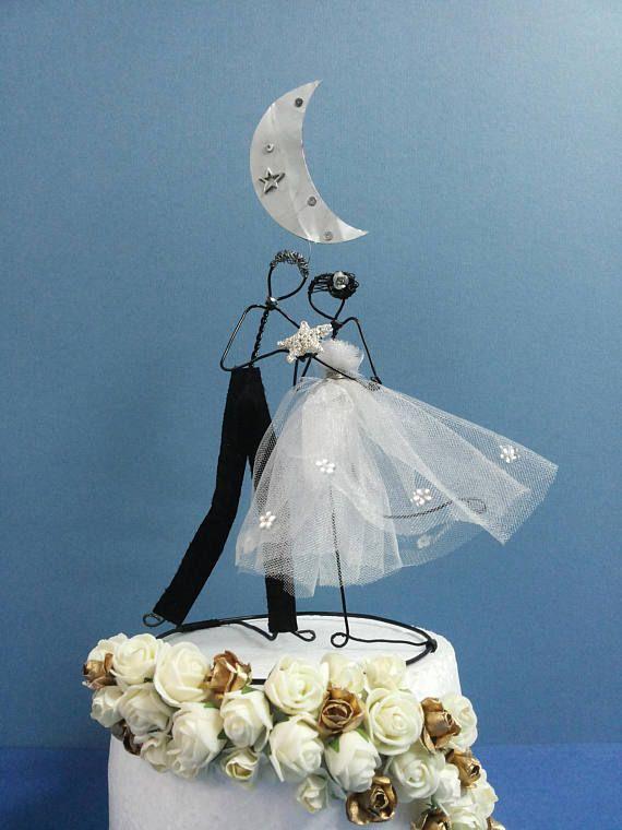 Personnalisé, mariage fil gâteau figurine, de gâteau de mariage Classic, personnalisé gâteau topper, topper mariée et le marié, gâteau rustique
