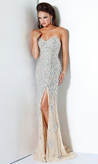 Silver Sequin Evening Gown by Jovani; Marine Ball Dream Dress!!!!