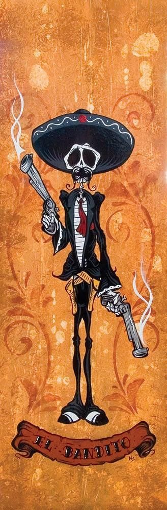 David Lozeau. Skeleton having fired pistols