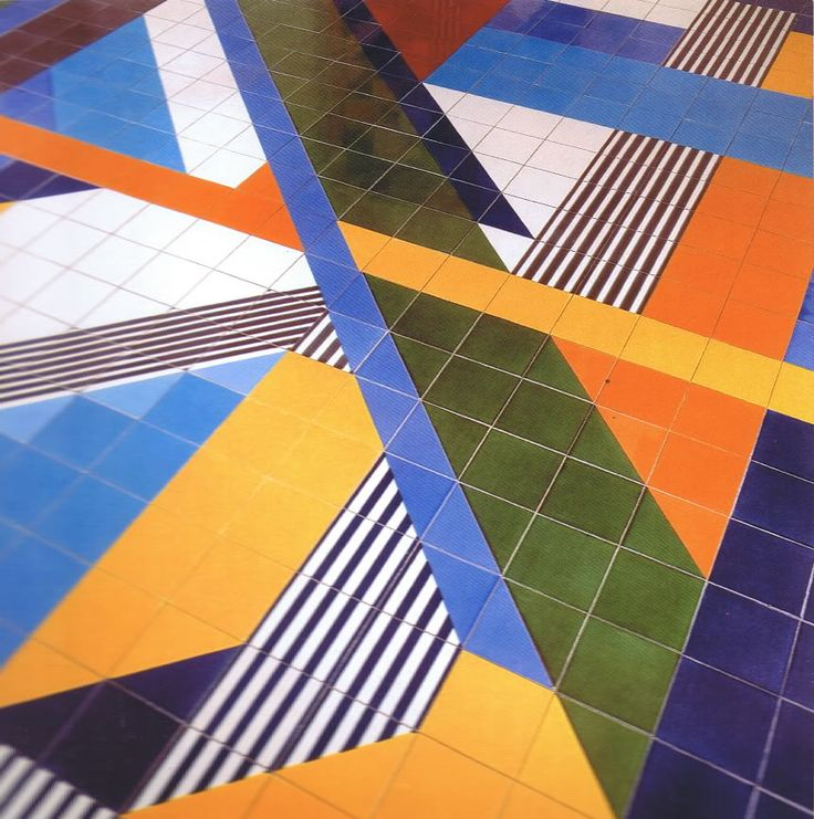 geometric pattern out of tile, color tile floor, modern tile floor