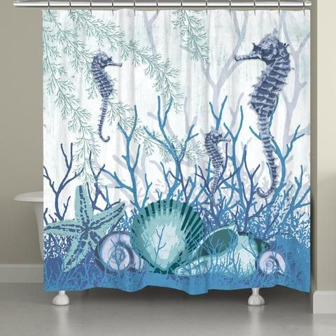 "Take the Newport inspired coral reef right to your bathroom with ""Aquatic Seahorses and Sea Shells"". This piece draws the attention to the cool colors of the ocean creatures living under the sea. This"