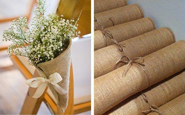 Детали свадьбы из мешковины