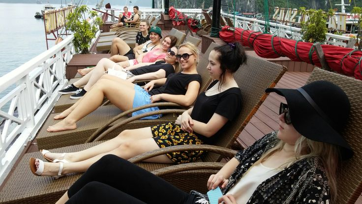 Taking time to relax while cruising Halong Bay. #HaLongBay #VietnamSchoolTours