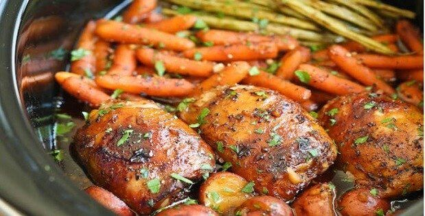 Ingredients SERVINGS: 6 2 lbs boneless skinless chicken breast, cut into chunks 3 garlic cloves, minced 3/4 tsp dried basil 1/3 cup low sodium soy sauce 1/3 cup ketchup 1/4 cup honey 1/8 tsp. red pepper flakes Directions Whisk together the garlic, basil, soy sauce, ketchup, and honey. Add the chicke…