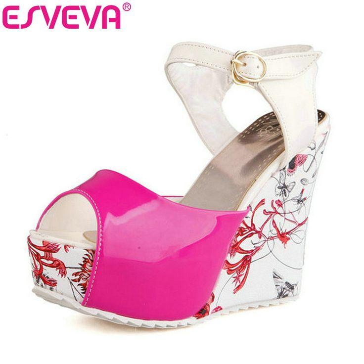 ESVEVA Kadın Pompaları Takozlar Yüksek Topuklu Yuvarlak Peep Toe Ayak Bileği Toka Askı Çiçek Platformu Bayanlar Zarif Sandalet Mavi Boyutu 34-39 | 32814411344_pt