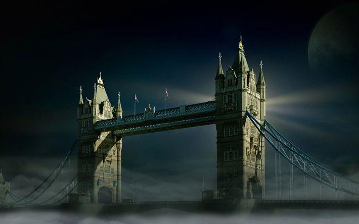 Download wallpapers London, night, Tower Bridge, moon, english landmarks, UK, England