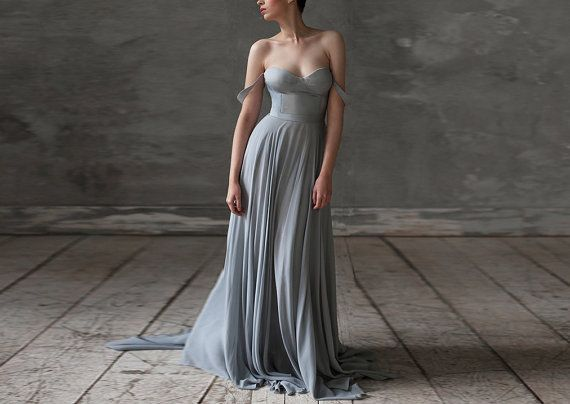 Eeribiya / Grey Wedding dresses silk wedding dress boho wedding dress bridesmaid dress Bohemian dress wedding gown chiffon wedding dress   by VICTORIASPIRINA to Etsy
