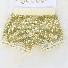 Baby Gold Sequin Shorts with Pom Pom Trim