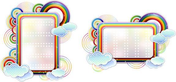 rainbow clouds border vector