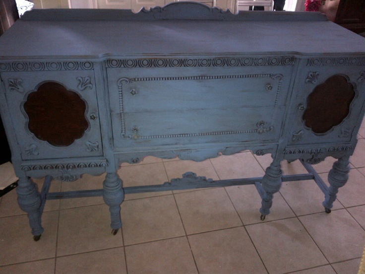 antique sideboard completed in greek blue with distressing and clear waxes!
