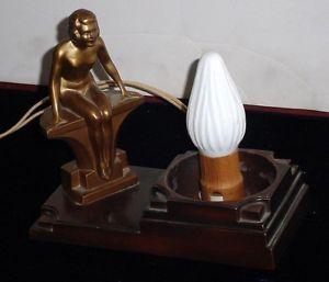 NUART CREATIONS FRANKART ERA NUDE WOMAN ART DECO TABLE LAMP BASE NO SHADE N/R