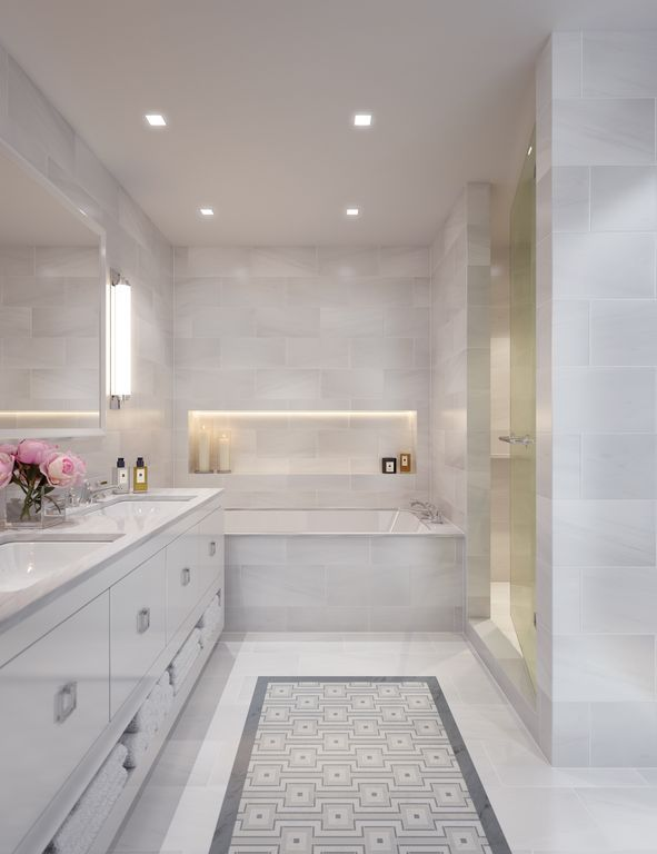 Contemporary Master Bathroom with Rejuvenation Winslow Ring Pull, Wall sconce, Complex marble counters, European Cabinets