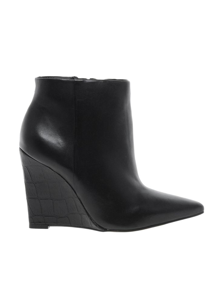 $180, Share Leather Slim Wedge Pointed Ankle Boots by Carvela. Sold by Asos. Click for more info: http://lookastic.com/women/shop_items/76417/redirect