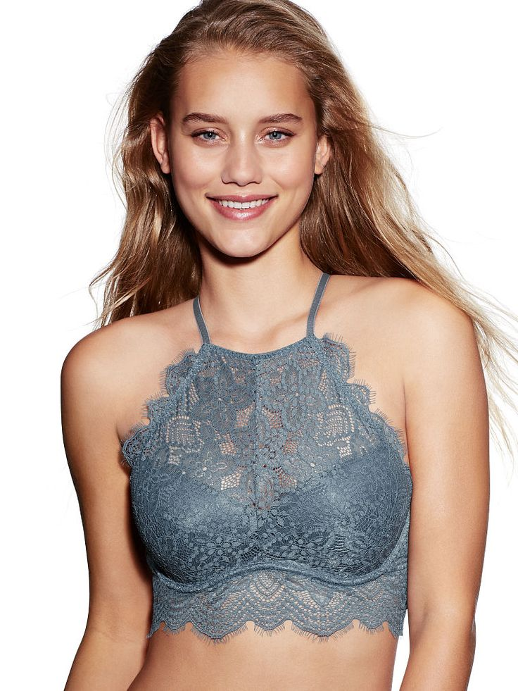 Eyelash Lace High-Neck Bralette - PINK - Victoria's Secret. Under a chambray for honeymoon?