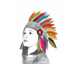 Minimel poster Petite indienne A3. Mooie poster van een indianenmeisje met kleurrijke verentooi. Deze poster is ontworpen door het Franse merk Minimel.