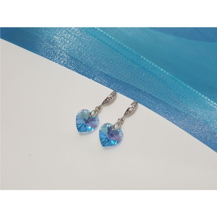 Korean Fashion Jewelry Elsa Blue Swarovski Crystals Earring for Women Girls #Rielar #Hook