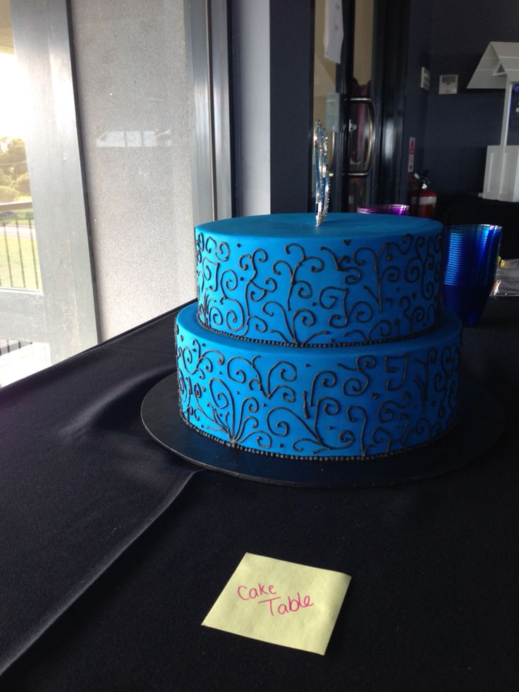 Engagement cake blue and black theme