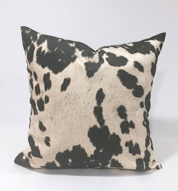 Faux CowHide Black Pillow Cover Animal Throw Pillow