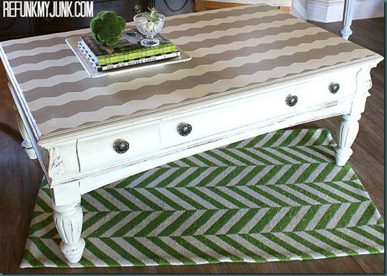 Chevron Painted Coffee Table {Painted Furniture Before & After} - Refunk My JunkRefunk My Junk