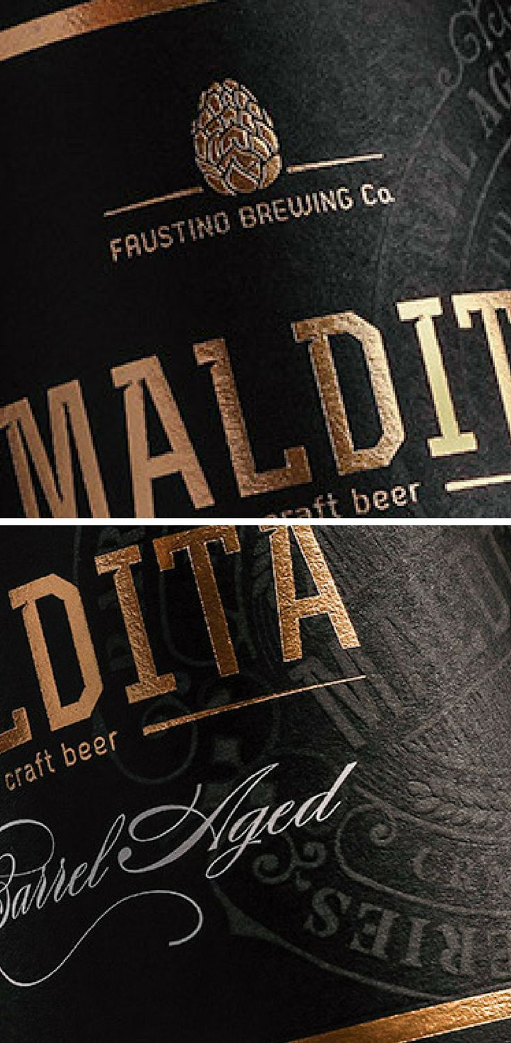 This label was made for a special edition oak barrel aged beer. 'Maldita' label design is complemented with a stamp and  typography, gold details making it more premium looking while keeping the original overall look.