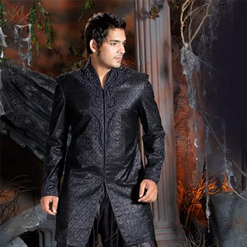 Black Jacquard Embroidered Sherwani with Patiala