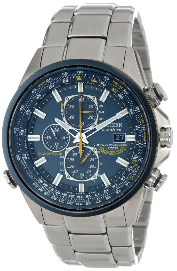 Citizen men watches : Citizen Men's AT8020-54L Eco-Drive Blue Angels World Chronograph A-T Watch
