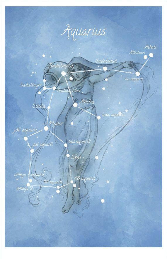 Art d'astronomie, constellation du Verseau, luminescente étoiles main-embellie imprimer